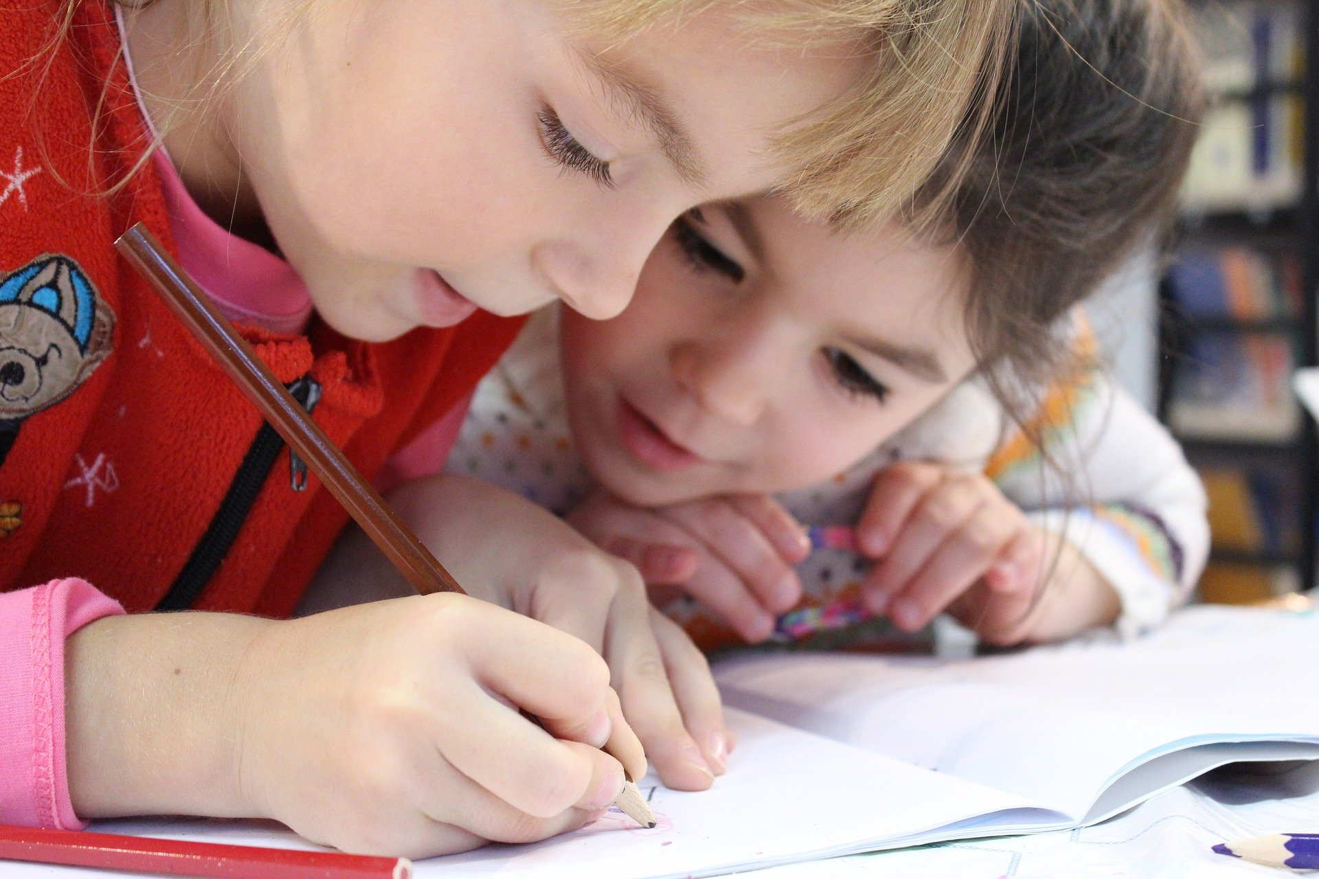 Two Girls coloring in book.