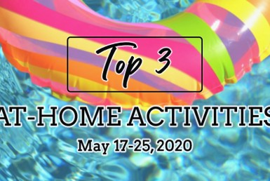 "Innertube in Pool. ""Top 3 At-Home Activities May 15-25."""