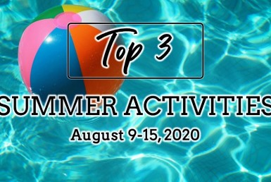 Top 3 Summer Activities: August 9-15, 2020. Beach ball in pool.
