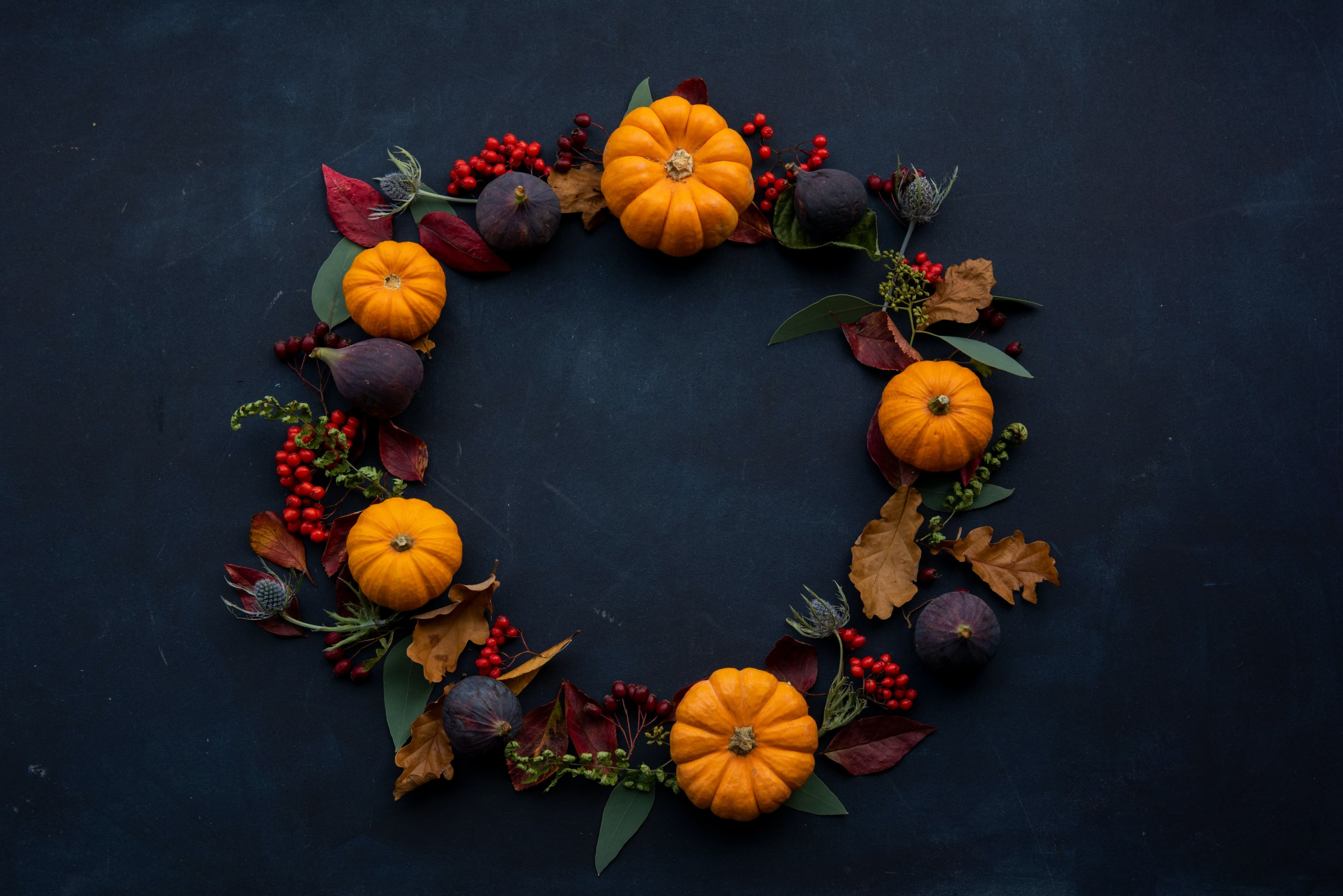 Fall Wreath with orange pumpkins, berries, and red, orange, and green leaves. Black background.