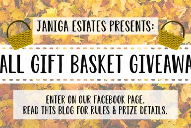 Janiga Estates Presents: Fall Gift Basket Giveaway. Enter on our Facebook page. Read this blog for rules and prize details.
