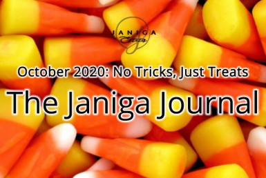 The Janiga Journal, October 2020: No Tricks, Just Treats. Candy corn background.